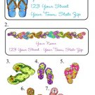 Personalized FLIP FLOPS ADDRESS LABELS New Designs!