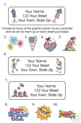 Personalized AMERICANA 4th of JULY ADDRESS LABELS