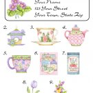 Personalized SPRING TEA SET / CUPS ADDRESS LABELS