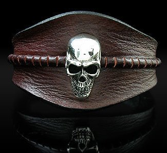 Royalty Collection Sterling Silver Skull in Brown Unisex Leather Cuff Bangle