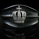 Royalty Collection Sterling Silver & Black Leather Crown Cuff Bracelet