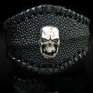 Royalty Collection Sterling Silver Skull Stingray Black Cuff Bangle