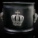 Royalty Collection Sterling Silver Max Crown Black Leather Bracelet