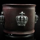 Royalty Collection Sterling Silver Max Crown Brown Leather Bracelet