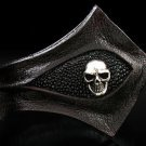Royalty Collection Sterling Silver ULTRA Skull Black Leather Bracelet