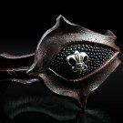 Royalty Collection Sterling Silver ULTRA Fleur De Lis Brown Leather Bracelet