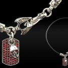Royalty Collection Sterling Silver Skull Red Pendant Necklace
