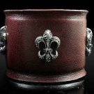 Royalty Collection Sterling Silver  Fleur De Lis Brown Leather Bracelet