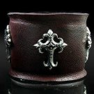Royalty Collection Sterling Silver Cross Brown Leather Max Bracelet