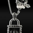 Royalty Collection 925 Sterling Silver Crown Lock Pendant.