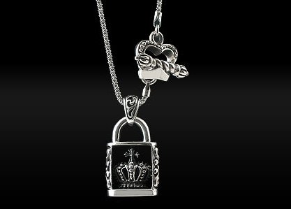 Royalty Collection 925 Sterling Silver Crown Lock Pendant