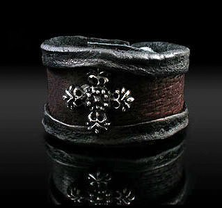 Royalty Collection 925 Sterling Silver Cross & Brown Leather Ring