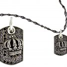 Royalty Collection 925 Sterling Silver Crown & Dark Tag Necklace Set
