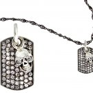 Royalty Collection 925 Sterling Silver Skull  & Clear Tag Necklace Set