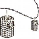 Royalty Collection 925 Sterling Silver Fleur De Lis & Diamond Tag Necklace Set