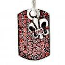 Royalty Collection 925 Silver Red Fleur De Lis Tag Pendant