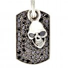 Royalty Collection 925 Sterling Silver Skull Dark Tag Pendant