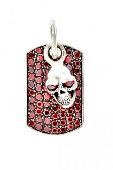 Royalty Collection 925 Sterling Silver Skull Red Tag Pendant