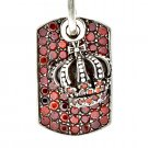 Royalty Collection 925 Sterling Silver Crown Red Tag Pendant