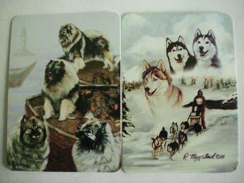 Siberian Husky/Keshond Playing Swap Cards New