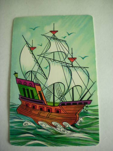 Vintage Colorful Ship Swap Playing Card Single