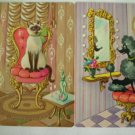 Vintage Whimsical Cat and Poodle Playing Swap Cards