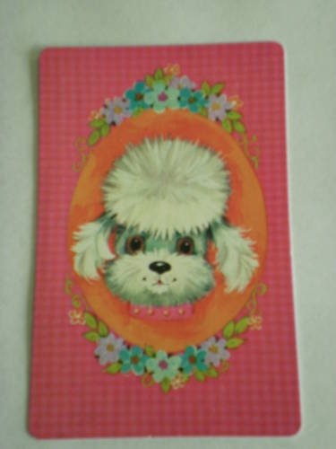 Vintage Poodle  With Flower Power Playing Swap Card