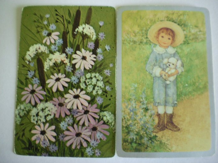 Vintage Boy with White Poodle/Wild Flowers Swap Cards