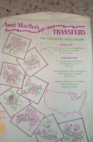 Aunt Martha United States State Flower Quilt Transfer