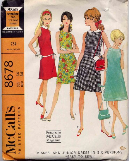 Sassy Mod 60s Little Narrow Shoulder Sleeveless Dress, Bust 34 McCall�s 8678