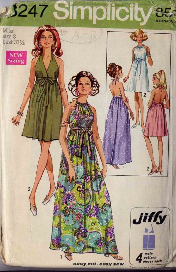 Sassy Mod �69 Jiffy Wraparound Backless Halter Dress in Two Lengths, Bust 31.5, Simplicity 8247