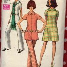 Sassy Mod '70 Zip Front Raglan Sleeve Mini Dress or Tunic and Pants, Bust 36 Vintage Simplicity 70's