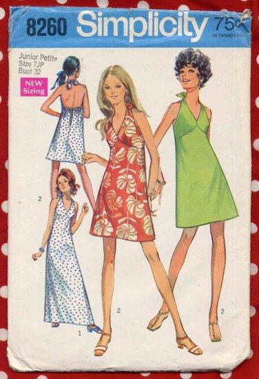 Sassy Mod '70 Easy Mini or Maxi Halter Dress Junior Petite Bust 32 Vintage Simplicity 8260