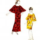 Mod 60's Polynesian Patterns Accordion Bell Sleeve Scoop Neck Shift Dress Vintage Sewing Bust 36