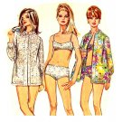 Sassy Mod '68 Bikini Swimsuit, Nehru Collar Shirt Simplicity 7645 Vintage Sewing Pattern Bust 32.5