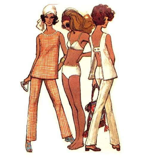 Sassy Mod 60s Bikini, H Back Top and Hip Hugger Pants, Bust 36 Simplicity 8153