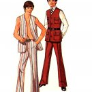 Mod Men 70's Vest and Pants Simplicity 9087 Vintage Sewing Pattern Chest 44