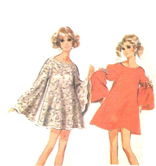 Sassy Mod 69 Angel Sleeve and Tablecloth Dress, Bust 34 36 McCall�s 9779, 1960�s