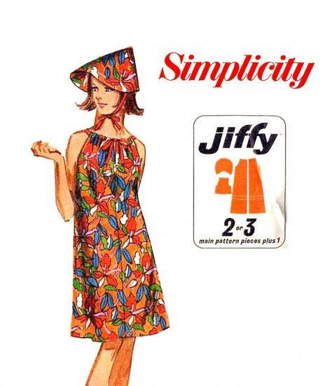Sassy Mod 60's Jiffy Drawstring Beach Dress and Scoop Hat Simplicity 7138 Vintage Pattern Size Med