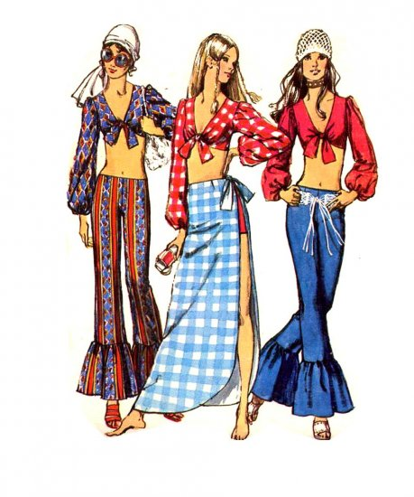 Sassy Mod 70s Hip Huggers w Flounce Cuff, Midriff Top Simplicity 9412 Vintage Sewing Pattern Bust 34