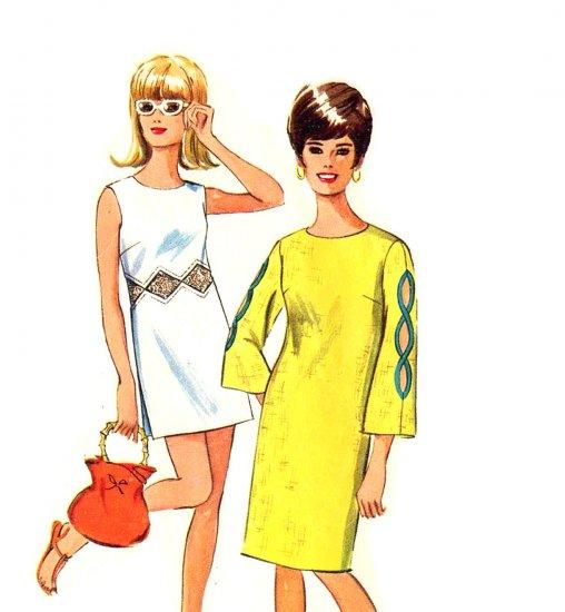 Sassy Mod 60s Mini Dress with Peekaboo Sleeves Vintage Simplicity 6503 Bust 38