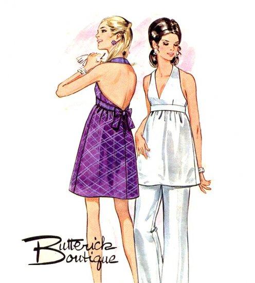 Sassy Mod 60s Backless Halter Dress and Pants Butterick 5512 Vintage Pattern Bust 36