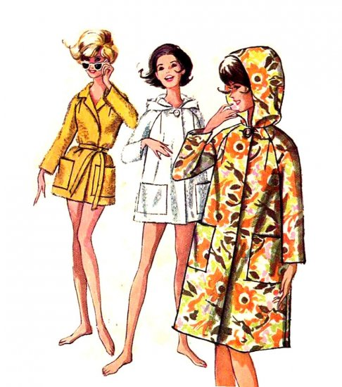 Sassy Mod 60s Hooded Beach Coat Ragan Sleeves Vintage Pattern Simplicity 5965 Sz Medium
