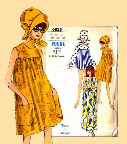 Sassy Mod 60's Beach Cover Up and Puff Hat Vogue 6825 Vintage Pattern Bust 32