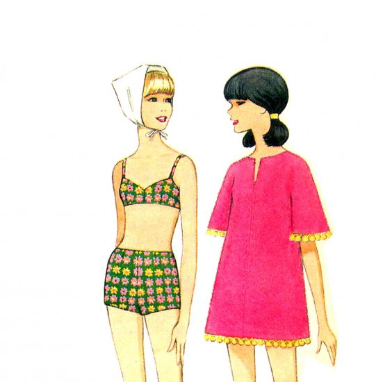 Sassy Mod 60s Gidget Bathing Suit and Beach Cover Up McCalls 8811 Vintage Pattern Bust 32