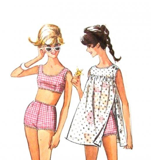 Sassy Mod 60s Gidget Bathing Suit and Beach Dress Simplicity 6018 Vintage Pattern Junior Bust 31.5