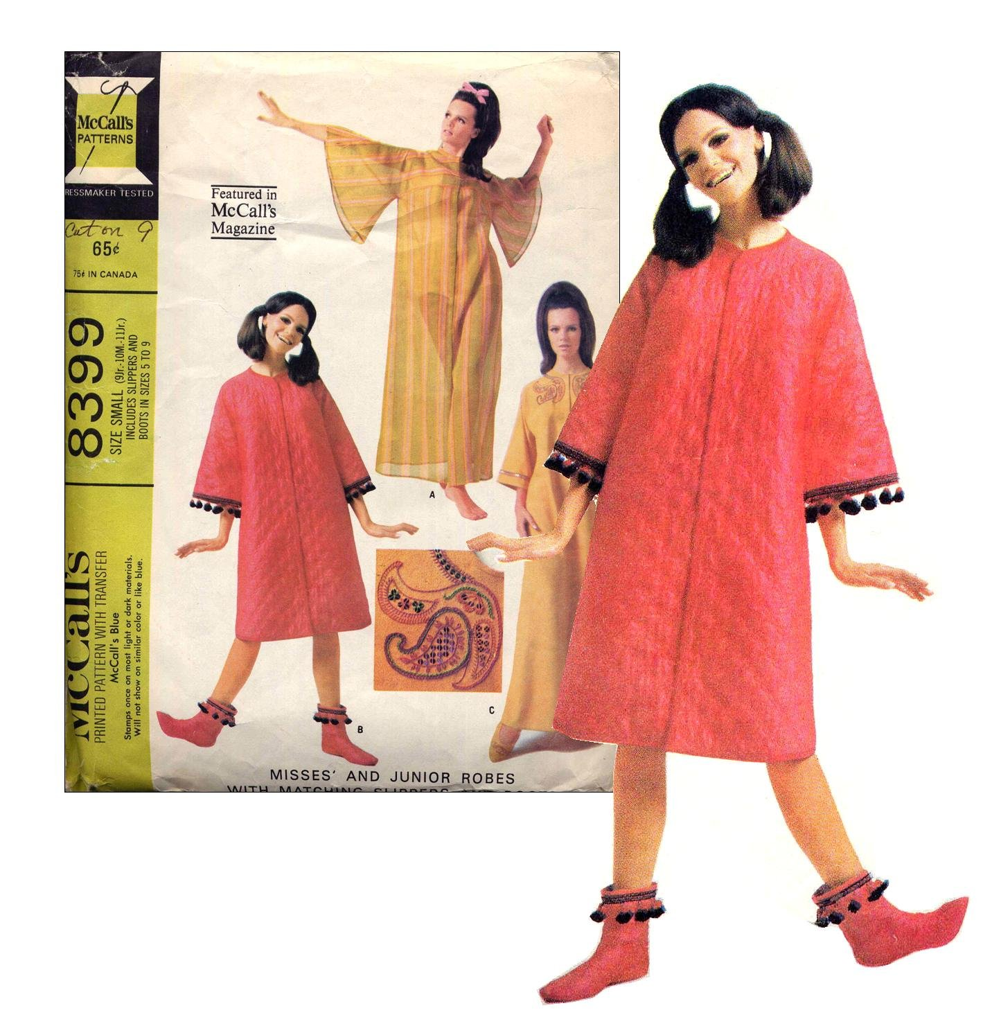 Sassy Mod 60s Robe and Slippers Embroidered Felt McCalls 8399 Size Small