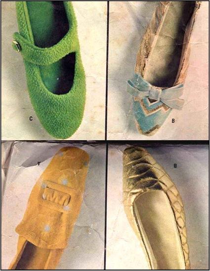 Sassy Mod '67 Felt and Fabric Slippers--Pilgrim, Mary Jane, Shell--All Sizes McCall's 9027 1960s