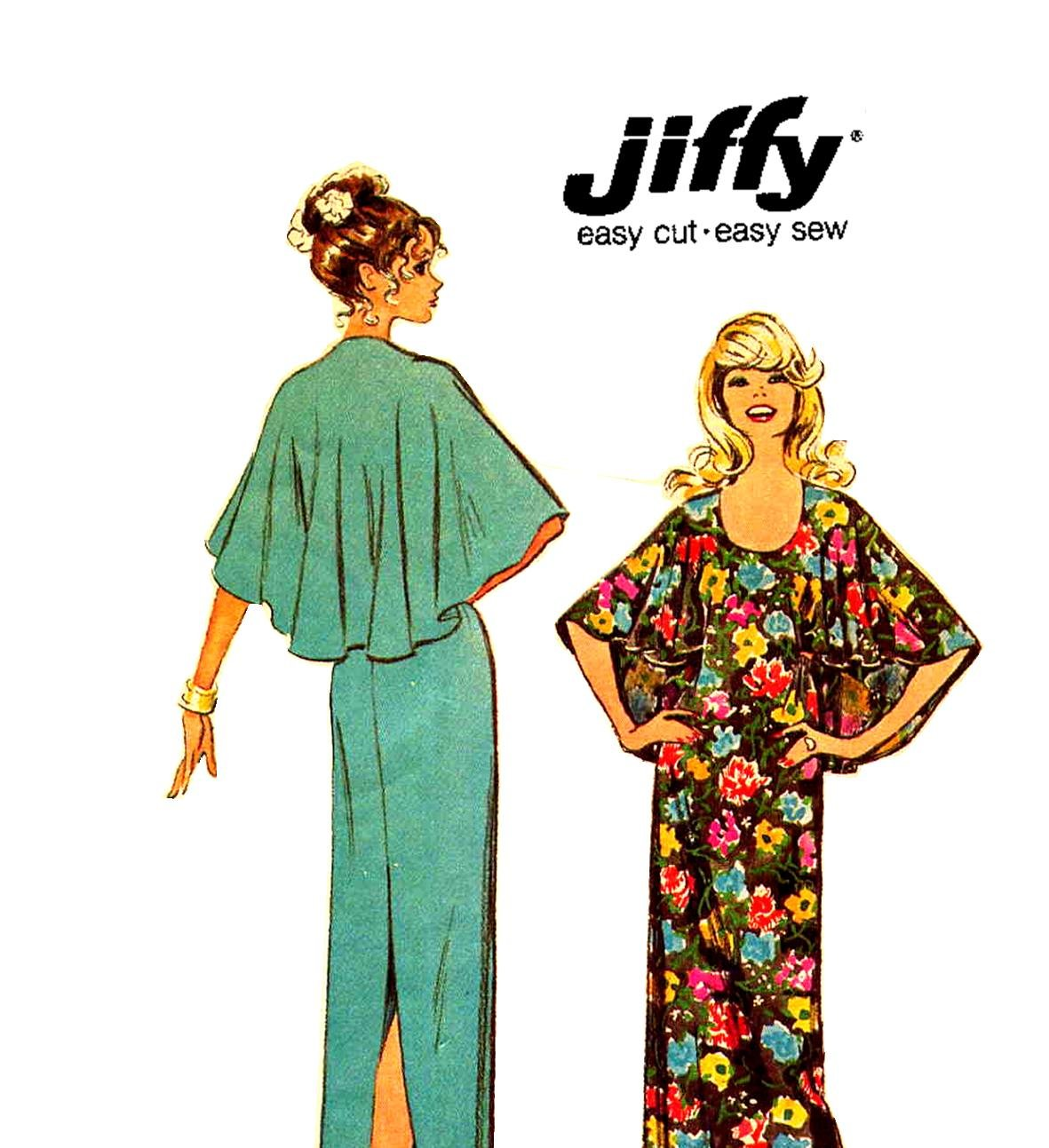 Sassy 70s Jiffy Backless Cape Shoulder Dress Simplicity 5420 Vintage Pattern Bust 38
