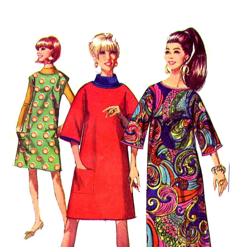 So Mod 60s Jiffy Disposable Dress Vintage Pattern Simplicity 7376, Bust 34, Paper, Felt Fabric
